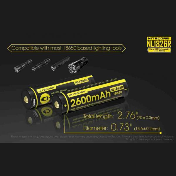 NITECORE NL1826R micro-USB rechargeable 2600mAh Li-ion battery 4