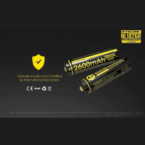 NITECORE NL1826R micro-USB rechargeable 2600mAh Li-ion battery 3