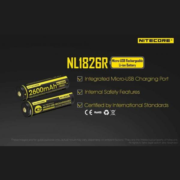 NITECORE NL1826R micro-USB rechargeable 2600mAh Li-ion battery 11