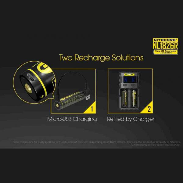 NITECORE NL1826R micro-USB rechargeable 2600mAh Li-ion battery 10