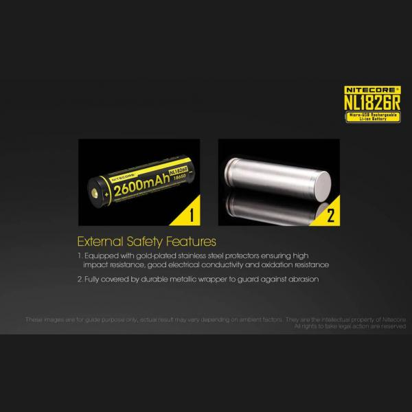 NITECORE NL1826R micro-USB rechargeable 2600mAh Li-ion battery 6