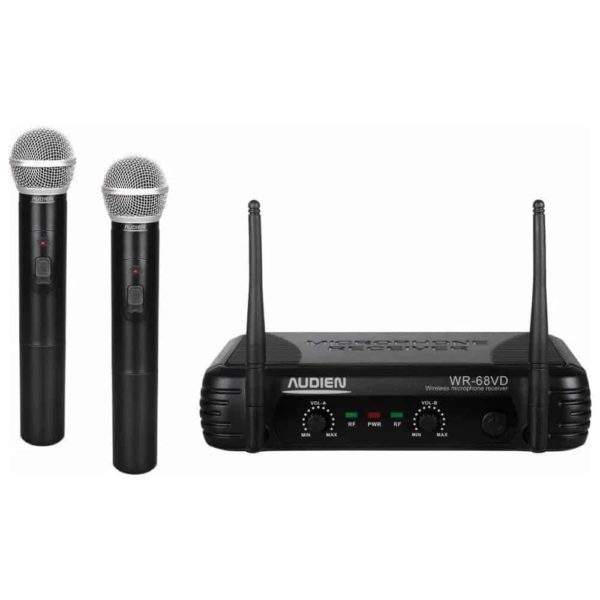 AUDIEN Διπλό ασύρματο μικρόφωνο χειρός VHF WR-68VD-B 1