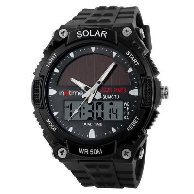 INTIME Ρολόι χειρός Solar-02, Ηλιακό, διπλή ώρα, El φωτισμός