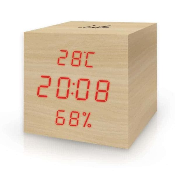 LIFE WES-105 Ξύλινο θερμόμετρο/υγρόμετρο, με ρολόι, ξυπνητήρι 1