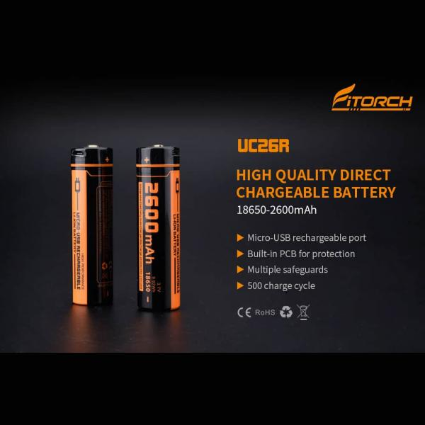 FITORCH UC26R 18650 3.7V 2600mAH Μπαταρία λιθίου με USB φόρτιση 2