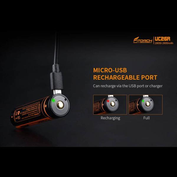 FITORCH UC26R 18650 3.7V 2600mAH Μπαταρία λιθίου με USB φόρτιση 3