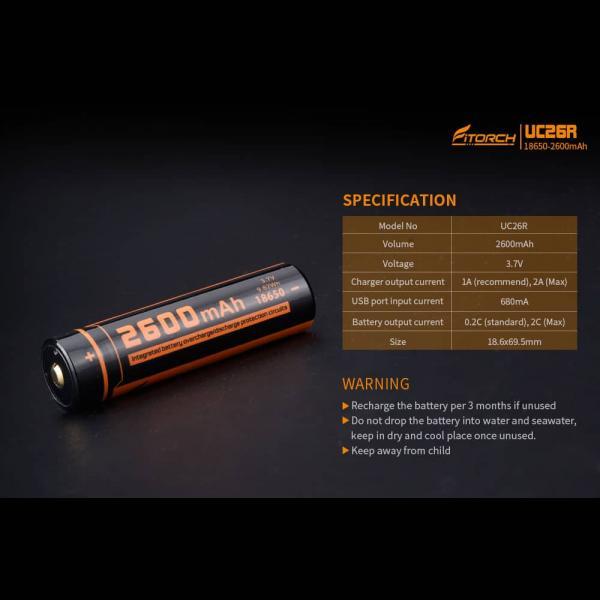 FITORCH UC26R 18650 3.7V 2600mAH Μπαταρία λιθίου με USB φόρτιση 4