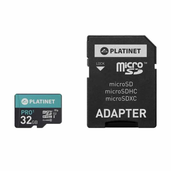 Platinet Pro1 32GB MicroSDHC UHS-I 70MB/s 478x with SD Adapter 2