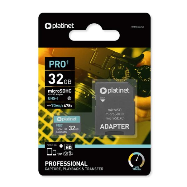 Platinet Pro1 32GB MicroSDHC UHS-I 70MB/s 478x with SD Adapter 1