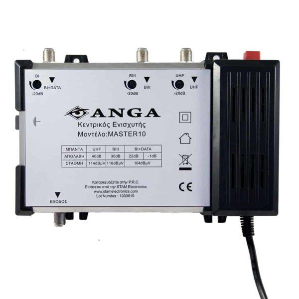 ANGA Master 10 Κεντρικός ενισχυτής 40dB απολαβή 116dBμV έξοδος 1