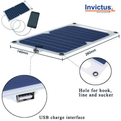 Invictus Ηλιακός Φορτιστής 5W με Θύρα USB SRUSB-5