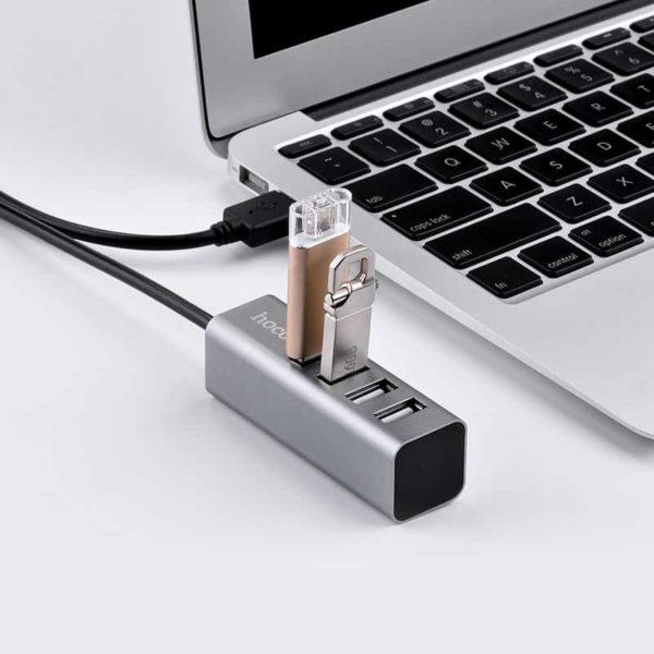 HOCO HB1 4 Θέσεων USB 2.0 Hub Ασημί 4