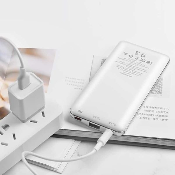 HOCO J39 Power Bank 10000mAh QC 3.0, MicroUSB & Type-C Λευκό 3