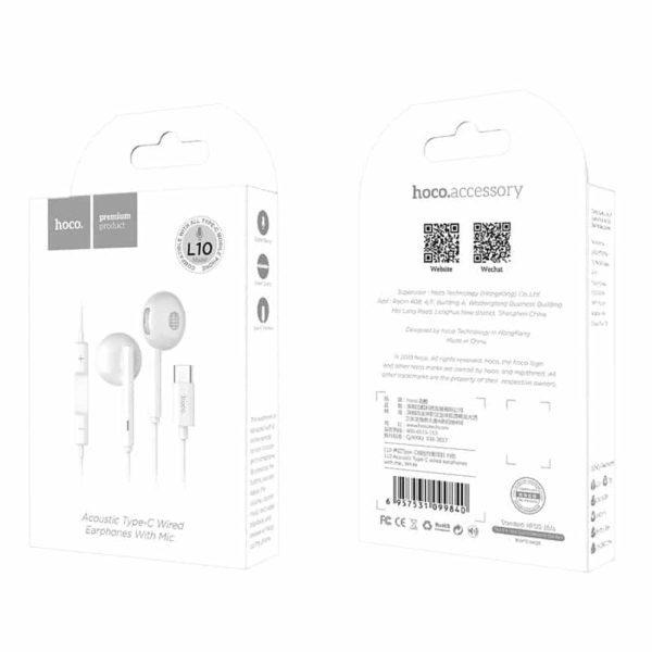 Hoco L10 Hands Free Earphones Stereo Type-C Λευκά με Μικρόφωνο και Πλήκτρο Λειτουργίας 10