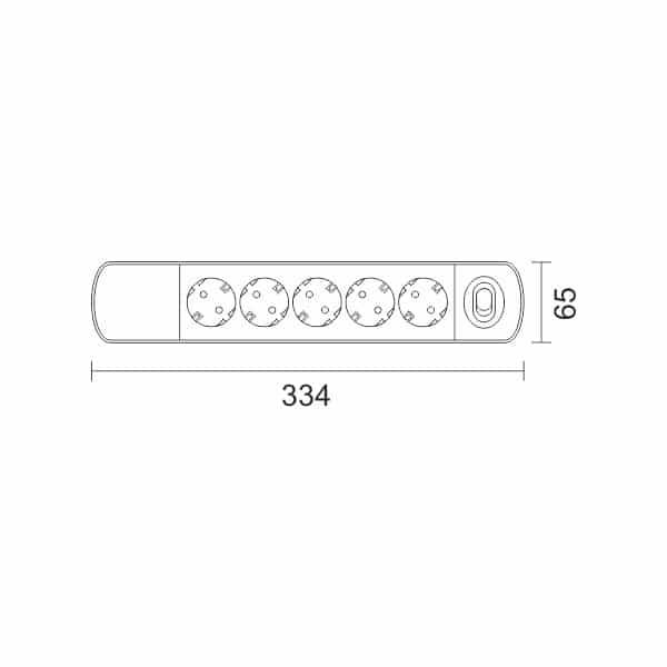 Spotlight Πολύπριζο 5 Θέσεων 1.4m με Προστασία Υπέρτασης 7018 1