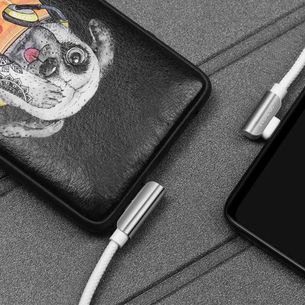 Hoco U42 Καλώδιο σύνδεσης Exquisite Steel USB σε Micro-USB Fast Charging 2.4A Λευκό 1.2 μ. 3