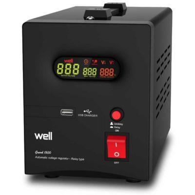 Well 1500VA Σταθεροποιητής τάσης υψηλής ακρίβειας με Ψηφιακή Οθόνη & USB Έξοδο Guard1500