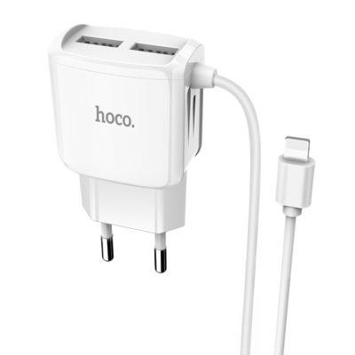 Hoco C59A Mega Joy Διπλός φορτιστής USB λευκός με ενσωματωμένο καλώδιο lightning.