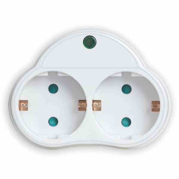 SONORA Αντάπτορας ρεύματος 2 θέσεων σούκο με προστασία υπέρτασης, λευκός SPAW200