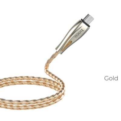 Hoco Cable USB to Micro-USB U56 Metal armor charging data sync, Gold