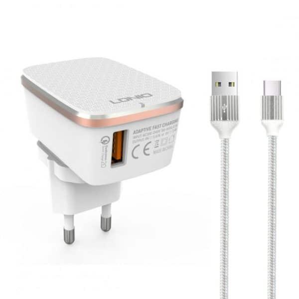 LDNIO A1204Q USB Φορτιστής QC3.0 1xPort & Καλώδιο USB Type-C 1m