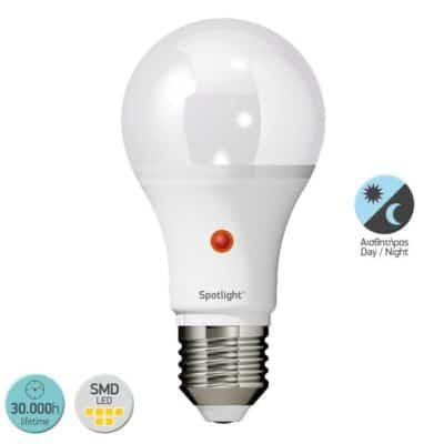Spotlight Λαμπτήρας LED με Φωτοκύτταρο A60 E27 10W 850lm 6000k 300° (5590)