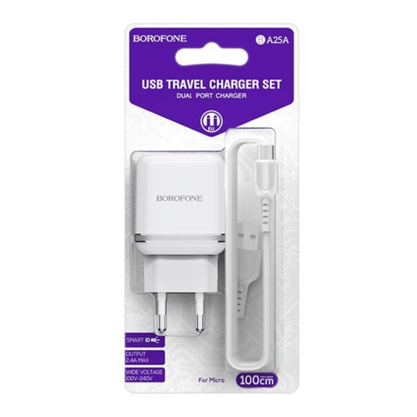 BOROFONE BA25A Outstanding, dual USB port wall charger set with Micro-USB cable, White 3