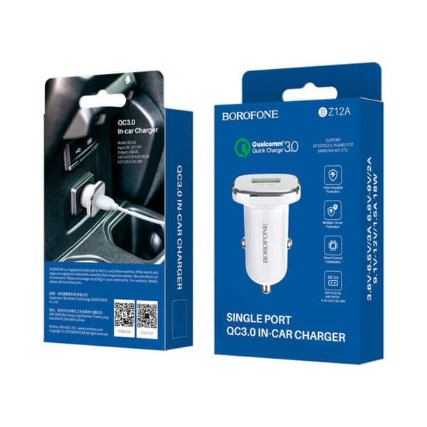 BOROFONE In-car charger BZ12A Lasting power QC3.0 set with cable, White 7