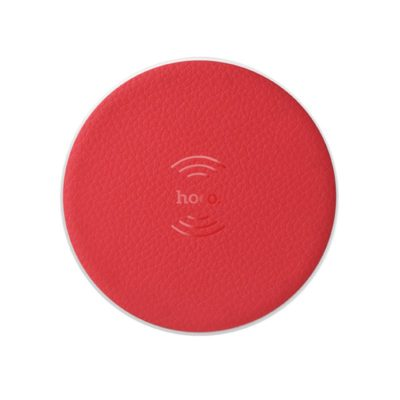 Hoco CW14 Round Wireless charger portable tabletop charging pad dock, Red