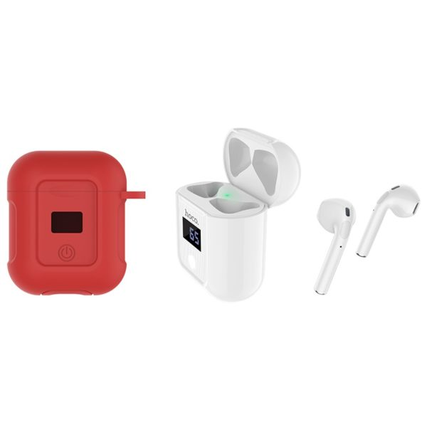 Hoco S11 Melody wireless headset, BT V5.0, with mic & charging case, Red/White 1