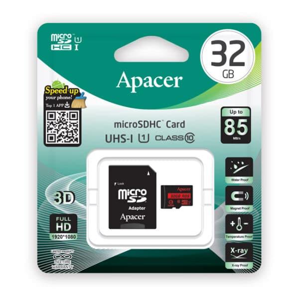 APACER Κάρτα Μνήμης Micro SDHC UHS-I U1 R85, 32GB, Class10 2