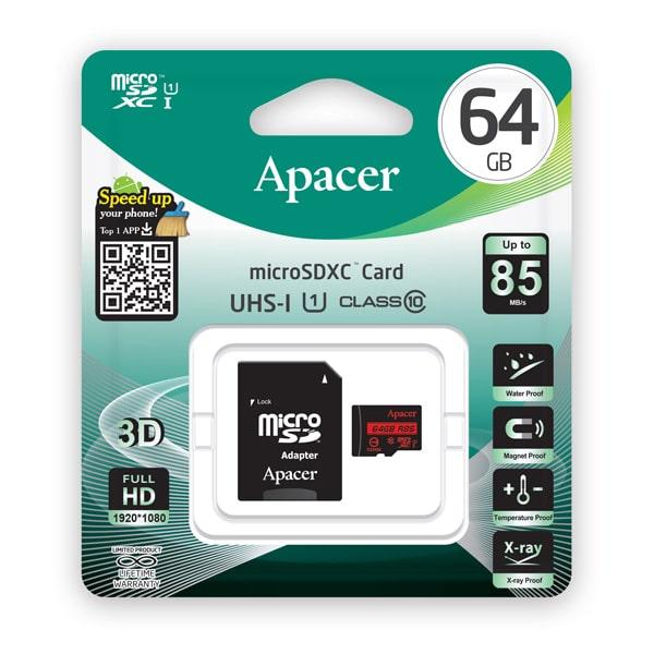 APACER Κάρτα Μνήμης Micro SDHC UHS-I U1 R85, 64GB, Class10 2