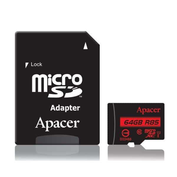 APACER Κάρτα Μνήμης Micro SDHC UHS-I U1 R85, 64GB, Class10 1
