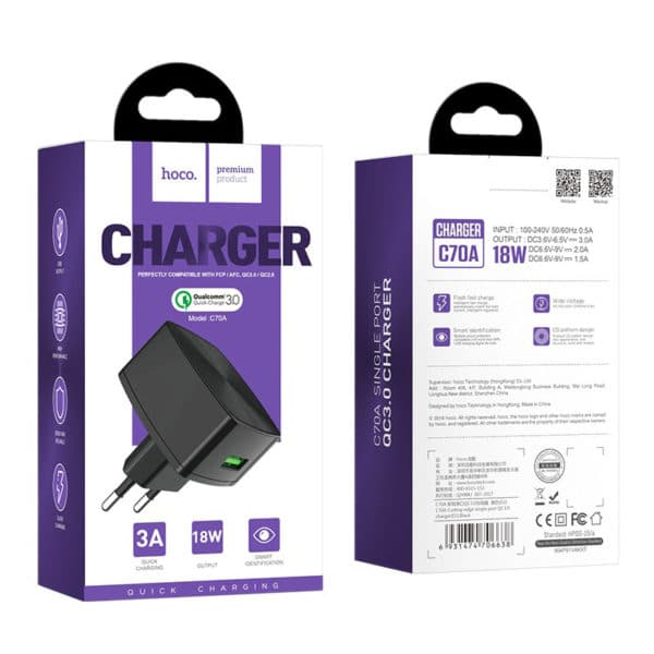 Hoco Wall charger C70A Cutting-edge single port QC3.0 9