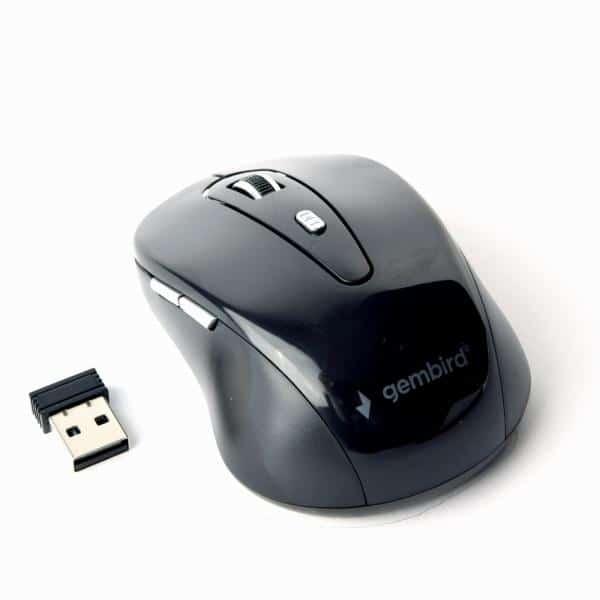 Gembird Ασύρματο οπτικό ποντίκι 6 πλήκτρων 1600DPI, μαύρο χρώμα