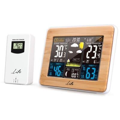 "LIFE Rainforest Bamboo Edition μετεωρολογικός σταθμός με ασύρματο αισθητήρα, οθόνη LCD 5.7"" & ρολόι/ξυπνητήρι."