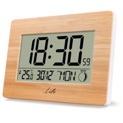 LIFE Bamboo Clock XL ψηφιακό ρολόι / ξυπνητήρι με οθόνη LCD και θερμόμετρο εσωτερικού χώρου