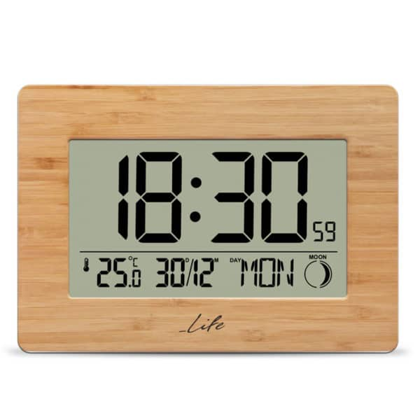 LIFE Bamboo Clock XL Bamboo ψηφιακό ρολόι & ξυπνητήρι με θερμόμετρο 1