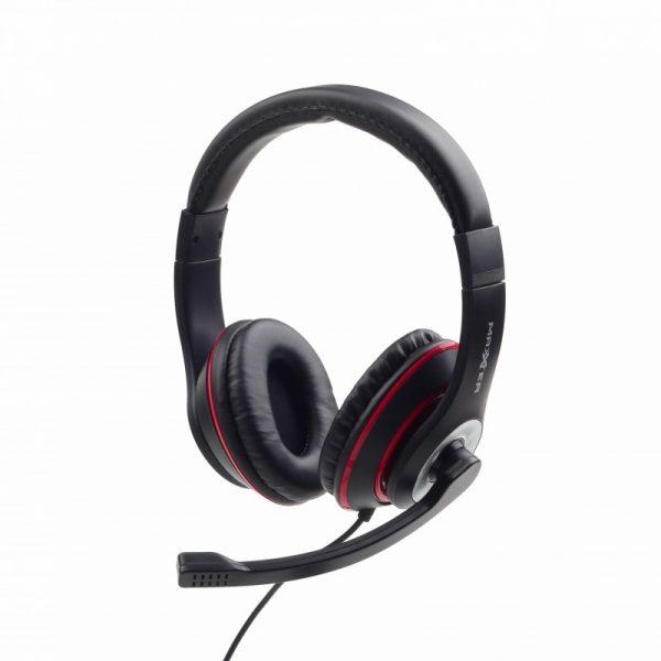 Maxter Stereo Headset με Μικρόφωνο Μαύρο - Κόκκινο MHS-003 by Gembird