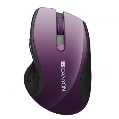 CANYON Wireless Mouse with Blue LED Sensor 1600DPi 6 Buttons, Purple CNS-CMSW01P