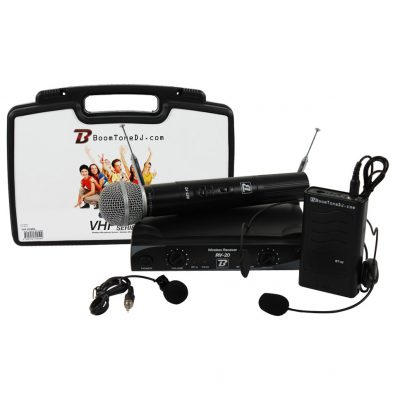 BOOMTONE DJ Ασύρματο Σύστημα με 1 Bodypack με Μικρόφωνο Πέτου & Κεφαλής & 1 Μικρόφωνο Χειρός Σταθερής Συχνότητας VHF20M F6-F8 (216.5Mhz - 219.2Mhz)
