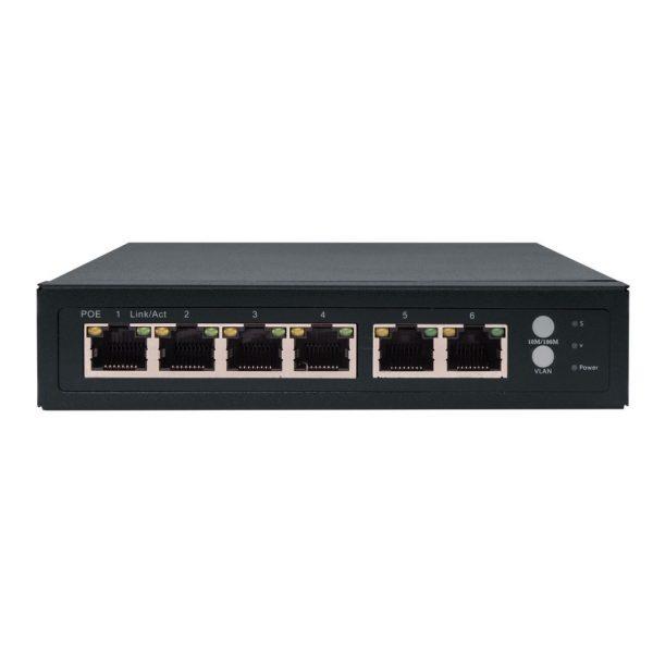 Amiko Ethernet Switch 4x 10/100M ports with PoE + 2x 10/100M ports LS-RT411POE