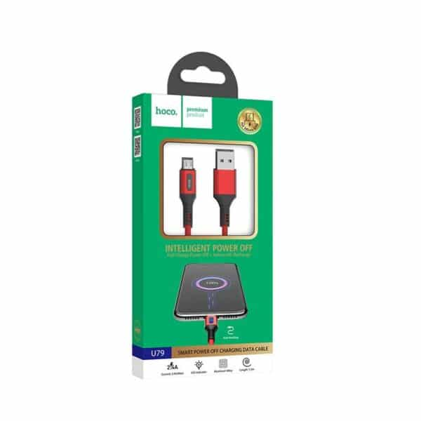 Hoco U79 Admirable Smart Power Off Καλώδιο Micro-USB 2.4A 1.2m, Κόκκινο 3