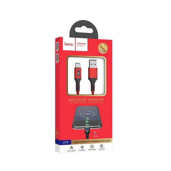HOCO U79 Admirable Smart Power Off Καλώδιο USB-C 2.4A 1.2m, Κόκκινο 3