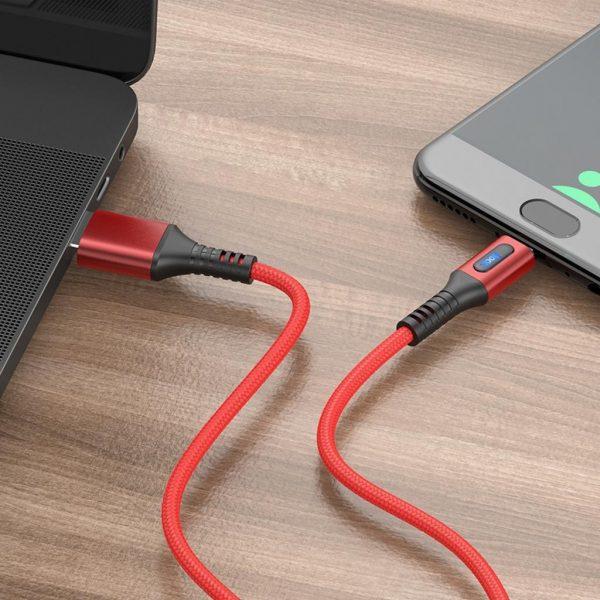 HOCO U79 Admirable Smart Power Off Καλώδιο USB-C 2.4A 1.2m, Κόκκινο 2