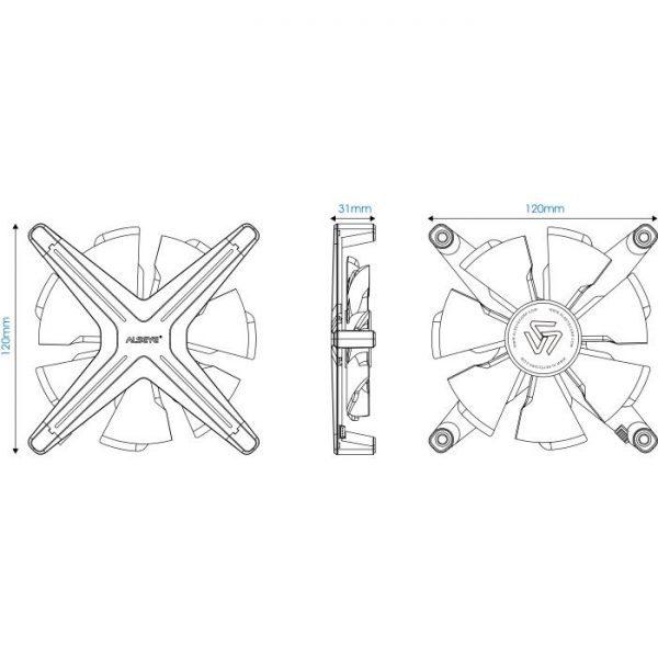 Alseye X12 Case Cooler 12cm RGB-Fan Kit 2