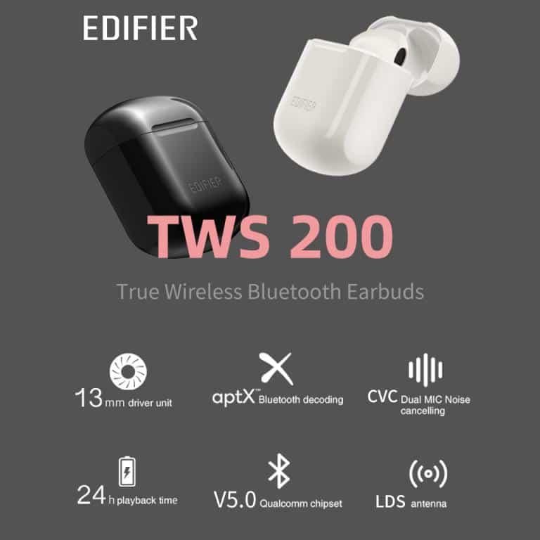 EDIFIER TWS200 True Wireless Stereo Earbuds Bluetooth v5.0 aptX, Black 7