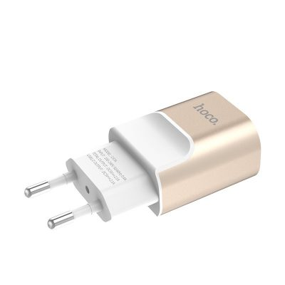 HOCO C47A Wall charger Metal dual USB port adapter 2.1A, Gold