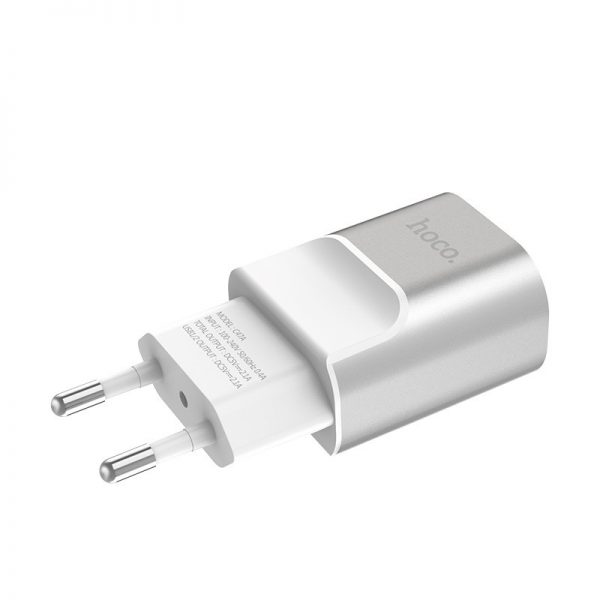 HOCO C47A Wall charger Metal dual USB port adapter 2.1A, Silver