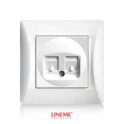 LINEME Πρίζα διπλή τηλεφώνου H Series, Λευκή 50-00119-1
